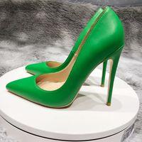 Yeşil Yeni Seksi Gece Kulübü Parti Düğün Ayakkabı Kadın Ince High Topuklu Sivri Burun 12 cm Stiletto Pompaları YG045 Roviciya