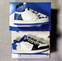 2021 Authentique Travis Scott X Fragment 1 High OG SP SP Chaussures Lieu Militaire Blue Ts Noir Voile Timide Hommes Femmes Sports Sneaker Sneaker Formateurs en plein air avec boîte originale