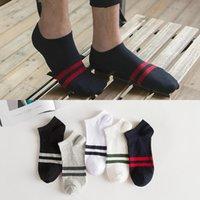 Men's Socks 10 50 Pair Ankle Men Black White Stripe Solid Invisible Fashion Short Non Slip Cotton Gifts For Wholesale