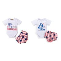 2Pcs Baby Independence Day Outfit Print Short Sleeves Romper + Star Stripes Briefs For Toddler Girl 0-18 M Clothing Sets