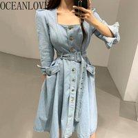 Robes décontractées Oceanlove Denim Femmes Bandage Solide Spring Solide Elegant 2021 Longue Robe longue Chic High Taille Vestidos Koean Fashion 16020