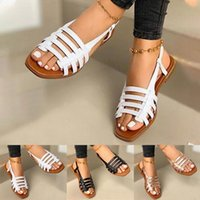 Sandals Flat Ladies Summer Outdoor Fashion Leather Shoes Round Toe Elegent Slipper Adjustable Buckle Strap Casual
