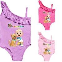 COCOMELON BIKINIS طفل الفتيات من قطعة واحدة ملابس السباحة الصيف الكرتون الاستحمام الدعاوى الشاطئ كشكش ملابس الأطفال وبحر داخلية g4yhbqy