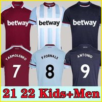 21 22 West Soccer Jerseys Ham 2021 2022 United Home Yarmolenko Lanzini Noble Bowen Antonio Football Shirt Fornals أرز رجل + أطفال كيت مجموعة جيرسي صوص بنراحما