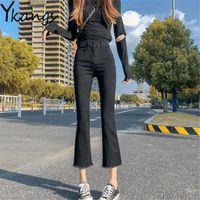 Women's Jeans Black Basic Women Classic Flared Simple Wild Streetwear Harajuku Denim Pant Slimming Korean Skinny Stretch Cropped Trouser