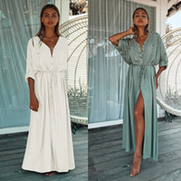 Bikini Cover-Ups Elegant Hollow Out Deep V-neck Summer Beach Dress White Cotton Tunic Women Wear Swim Suit Cover Up Women's Swimwear