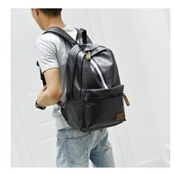 Backpack Fashion PU Leather Mens School Buiness Office Black Grey Brown Color Solid Soft Bag