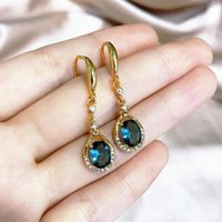 Dangle & Chandelier Solid 925 Silver Sterling Blue Sapphire Jewelry Earring For Women CN(Origin) 14K Yellow Gold Aros Mujer Oreja Gemstone O