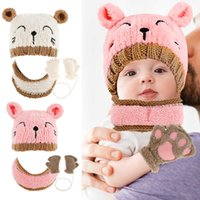 Toddler Infant Winter Baby Hat Scarf Suit Girls Boys Warm Hat Winter Hooded Scarf Ear Flap Knitted Cap Cute Gift Suit for 1-3 Y