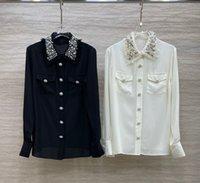 고급스러운 100 % 실크 여성 셔츠 디자이너 블랙 / 화이트 옷깃 목 비즈 크리스탈 여성 블라우스 92615