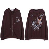 Y2K sweatshirt Winter et Cloth Brown Zip Sweatshirt Oversized Hoodie Women's XL Retro Pocket Long Sve Pullover goth