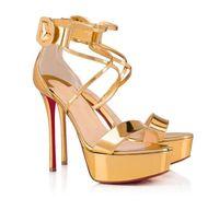 Дизайнер роскошь Choca Sandals Sandals Strappy Женская красная нижняя обувь Леди лодыжки ремни высокие каблуки сексуальные дамы гладиаторские сандалии свадьба с коробкой