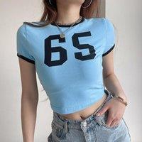 Women's T-Shirt Harajuku Woman Tshirts Short Sleeve Summer Tops For Women 2021 Graphic Tees Y2k Aesthetic Letter Streetwear Crop