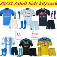 Kit Kids Adulto 19 20 21 Napoli Jersey Home 2021 Nápoles Zielinski Hamsik Insigne Mertens Callejon Jogador Rog Football Camisas