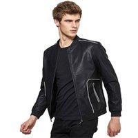 Мужские куртки 2021 осень зима мужчин женские черные тонкие крутые искусственные кожа повседневный сплошной цвет молнии искусства с длинными рукавами пальто # 60