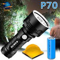Zhiyu 슈퍼 강력한 LED 손전등 L2 P70 전술 토치 USB 충전식 Linterna 방수 램프 울트라 밝은 랜턴 캠핑 210202