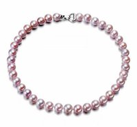 8-9mm Purple Natural Pearl Beaded Necklace 18inch Women's Gift Bridal Jewelry Choker
