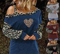 Leopar Bayan Tasarımcısı Tişörtleri Bir Omuz Uzun Kollu Kalp Baskılı Gevşek Kadın Casual Kadın Tees Tops