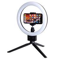 "LED per cellulare LED Light Light 10W 7 ""Selfie Anello Lampada 2800-5500K Illuminazione fotografica con treppiede Moblie Phone Clamp US Standard GWF9550"