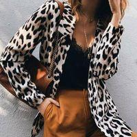 Women's Jackets Women Leopard Print Lapel Coat Jacket Long Sleeve Ladies Slim Fit Outwear