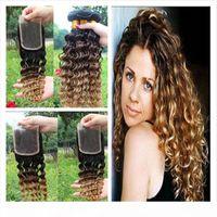 Malaysian Deep Wave Wavy Ombre Menschliche Haarverlängerungen # 1B 4 27 Ombre Haarwebart Bündel mit drei Tonnen Ombre Spitze Verschluss 4pcs los