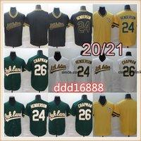 Auckland 26 Jerseys de béisbol Matt Chapman 20/21 Temporada 24 Rickey Henderson Pullover Gold 100% Bordado cosido //