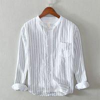 2020 2020 Brand New Mens Camicia a maniche lunghe a maniche lunghe a strisce cotone e biancheria camicia casual stand collare sciolto casual formale bianco bianco blu Q48a #