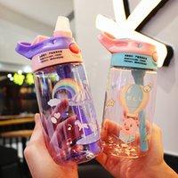 어린이 물 컵 머그잔 아기 병 유치원 duckbill 컵 동물 인쇄 휴대용 학생 플라스틱 빨 대 재고 재고