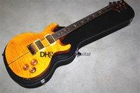 custom PR electric guitar, flamed maple veneer,yellow guitar,gold pickups,mahogany body with shell inlay,bird mosaic