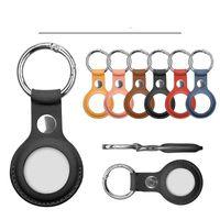 Party Favor PU Läder Key Ring för Apple Airtags Case Tracker Tillbehör för gåvor Anti-Scratch Protective Sleeve Cover Shell Keychain