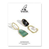 S'STEEL Luxury Drop Earrings Gift For Women 925 Sterling Silver Earring Designer Shell Pearl Geometric Earings Fine Jewellery 210525