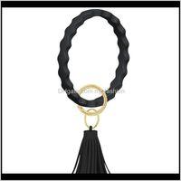 Rings Drop Delivery 2021 Sile Loop Keychain Fashion Arm Bracelet Bangle Jewelry Big Wave Clasp Round Key Wrist Strap Bangles Bracelets Aessor