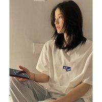 Fábrica Ronda ADER21 Nueva letra plegable T-shirt de cuello de impresión suelta casual de manga corta Neutral GX2397