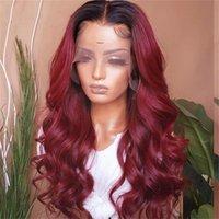 Perruques en dentelle eczar ombre coloré cheveux de couleur 1B 99J avec bébé pour femmes Brésilien Bourgogne Remy ondulé