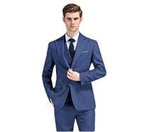 Men's Suits & Blazers 3 Pieces Fashion Blue Formal Men Custom Groom Tuxedos Wedding For Groomsman (Jacket+Pants+vest+tie)