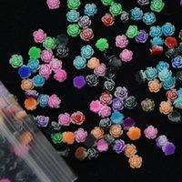 Resina Flor de Rose - 100 PCS 6mm 12 colores Flores Cabochons Cameo Base Ajuste 3D Turquoise Nail Art Decorations Decoraciones