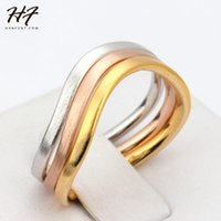 Cluster Rings Top Quality 3 Color Ring Wire Drawing Process Rose Gold Fashion Set Full Sizes Sale R447