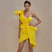 Ocstrade Femmes Sexy Bullcon Robes Nouveau été Ventilé Jaune Jaune One Épaule Robe Baldoyale Celebrity Soirée Club Dress 210323