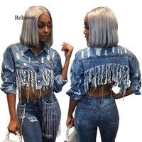 REBICOO TASSEL rasgado corte jean jaqueta de jaqueta de outono de manga longa jeans jaqueta streetwear short denim casaco feminino outwear