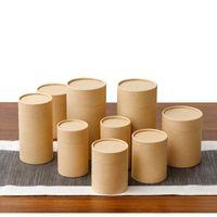 10 adet / grup Kraft Kağıt Tüp Yuvarlak Silindir Çay Kahve Konteyner Kutusu Biyobozunur Karton Ambalaj Çizim / T Gömlek / Tütsü Hediye Paketi
