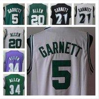빈티지 농구 # 34 예수님 셔틀 워스 레이 알렌 저지 트렁크 20 Kevin Garnett 5 21 Paul Pierce 스티치 컬러 그린 화이트 블랙 블루