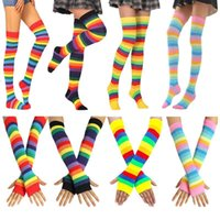 New Colorful Rainbow Stockings Cute Thigh Knee Socks Dance Striped Arm Warmer Gloves Christmas Gifts Women Cosplay Costume