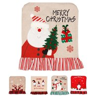 Chair Covers Christmas Covers, Set Of 4 Santa Claus Hat Back For Home Kitchen Decoration