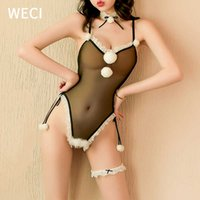 WECI Sexy Cute Bunny Girl Cosplay Furry Rabbit Costume Suit Erotic Open Crotch Bodysuit Transparent Body Clothes For Sex In Ass 210616