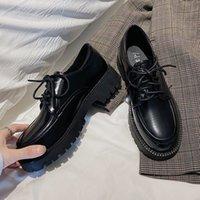 Dress Shoes Sapatos femininos casuais de couro, novo sapato estilo oxford primavera para mulheres com fundo grosso e plataforma, RJHM