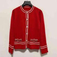 2021 Milan Runway Sweater O Neck Long Sleeve Women's Sweater High End Jacquard Cardigan Women Designer Sweater 1225-6