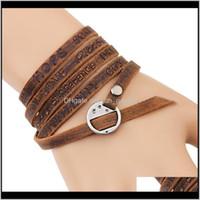 Charm Bracelets Jewelryengrave Mtilayer Genuine Leather Wrap Bracelet Bangel Cuff Wristband Be Dream Love Peace Wish Inspirational Jewlery F