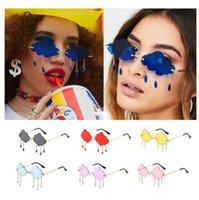 Wholesale Rimless Sunglasses Women 2021 Vintage Clouds Tassel Candy Color Blue Red Punk Sun Glasses Men Party Shades UV400 Bulk Nrlqh