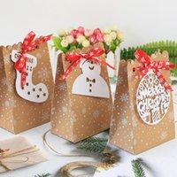 6 estilos New Christmas Nat Christmas Caixa de doces Natal papel floco de neve saco de papel biscoito bolsa de doces rrd7502