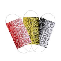 Luxury 3 Layer 95%Filtration Efficiency Adult Black Red Yellow Snowflake Printing Disposable Face Masks Dustproof Prevention Influenza Face Mouth Mask
